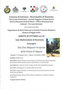 Ramiseto: Don Elvo Magnani arciprete della chiesa di Nigone nel 25° della morte, sabato 20 ottobre