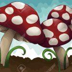 5530436-Mano-disegnata-illustrato-gruppo-di-funghi-Ogni-fungo-erba-sporco-e-cielo-sono-tutti-su-livelli-sepa-Archivio-Fotografico